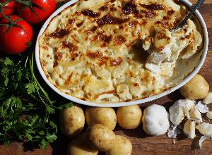 Roast potato, turkey, sausage & stuffing Boxing Day pie